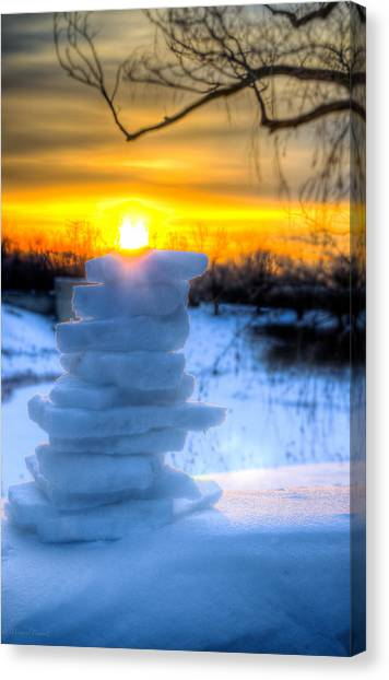Snow Candle - North Of Chicago 1-8-14 Canvas Print by Michael  Bennett