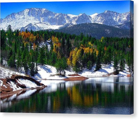 Snow Capped Pikes Peak At Crystal  Canvas Print