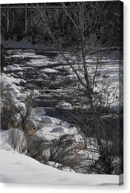 Snow Capped Stream Canvas Print