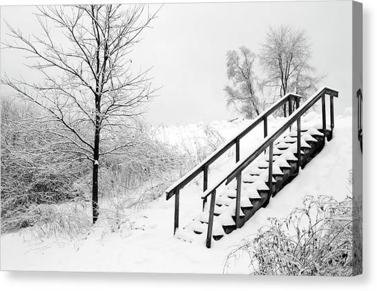 Snow Cover Stairs Canvas Print