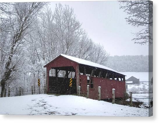 Snow Covered Covered Bridge Canvas Print