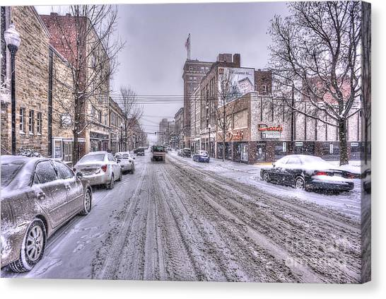 Snow Covered High Street And Cars In Morgantown Canvas Print