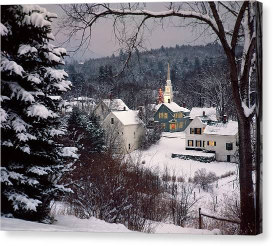East Village Canvas Print - Snow Covered New England Winter Evening by Vintage Images