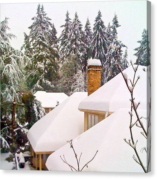 Apple Tree Canvas Print - Snow Covered Rooftops - Winter In Lake Oswego Or by Anna Porter
