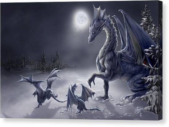 Dragons Canvas Print - Snow Day by Rob Carlos