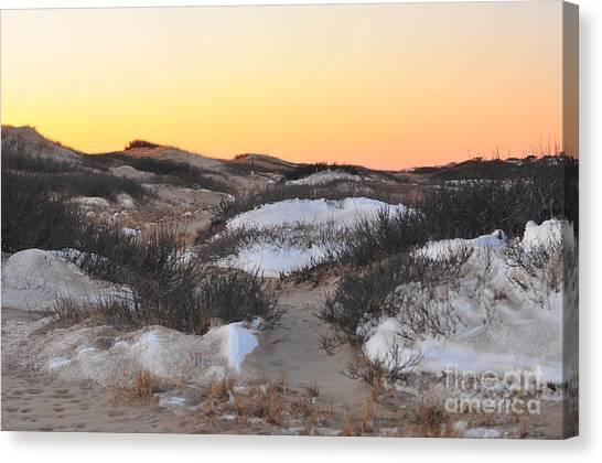 Catherine Reusch Daley Fine Artist Canvas Print - Snow Dunes Sunset  by Catherine Reusch Daley