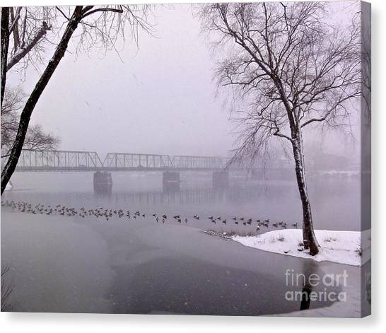 Snow From Lewis Island Bridge Canvas Print