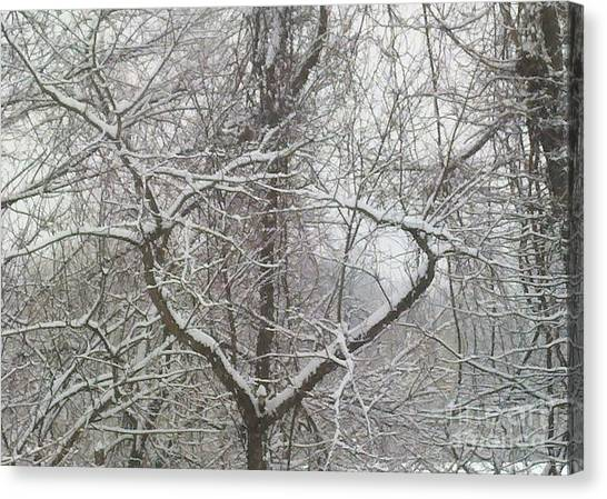 Snow Has A Heart Canvas Print