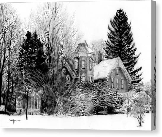 Da196 Snow House By Daniel Adams Canvas Print