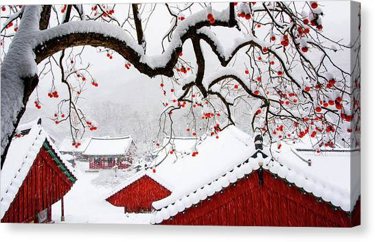 Temples Canvas Print - Snow In Temple by Bongok Namkoong
