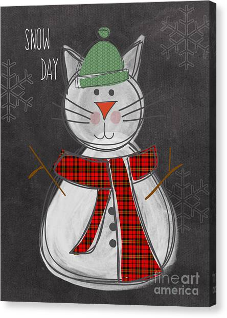 Cat Canvas Print - Snow Kitten by Linda Woods