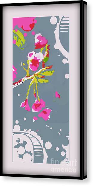 Snow On Cherry Blossom Canvas Print by Wendy Wiese