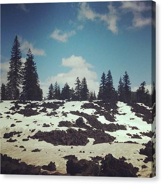 Lava Canvas Print - Snow On Lava :) by Courtney Allison