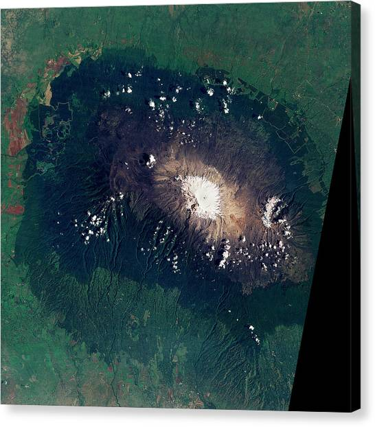 Mount Kilimanjaro Canvas Print - Snow On Mount Kilimanjaro by Nasa/science Photo Library