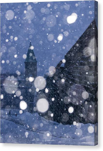 Snow On Old Quebec City Canvas Print