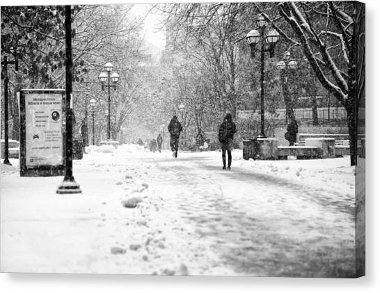 University Of Michigan Canvas Print - Snow On The 'diag' by James Howe