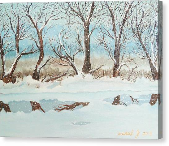 Snow On The Ema River 2 Canvas Print