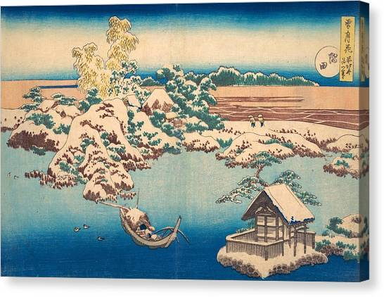 The Metropolitan Museum Of Art Canvas Print - Snow On The Sumida River by Katsushika Hokusai
