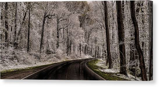 Snow Road Canvas Print by Tom  Reed
