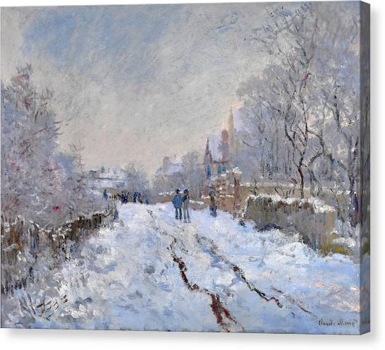 Canvas Print featuring the painting Snow Scene At Argenteuil by Claude Monet