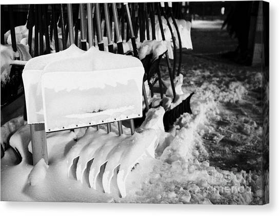Saskatoon Canvas Print   Snow Shovels And Scoops For Sale Outside Store In  Saskatoon Saskatchewan Canada