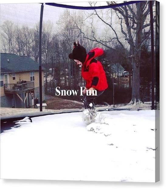 Trampoline Canvas Print - #snow #trampoline #snowball #fun by Lori Lynn Gager