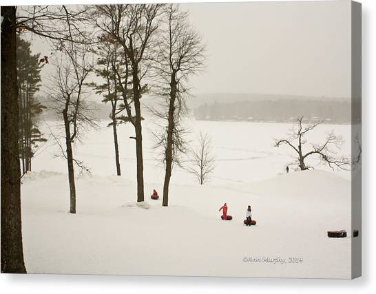 Snow Tubing In The Poconos Canvas Print
