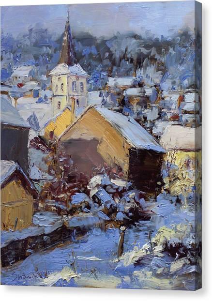 Snow Village Canvas Print by James Swanson