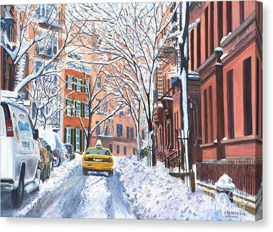 Villages Canvas Print - Snow West Village New York City by Anthony Butera
