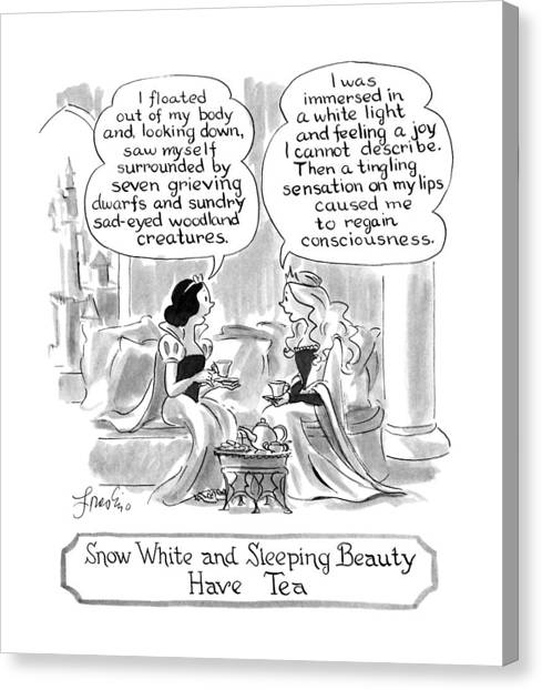 Have Canvas Print - Snow White And Sleeping Beauty Have Tea by Edward Frascino
