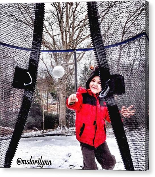 Trampoline Canvas Print - #snowball #actionshot #love #grandson by Lori Lynn Gager