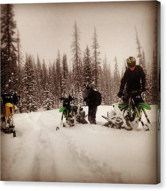 Suzuki Canvas Print - #snowbiking #justalittlefun #timbersled by Michael Smith