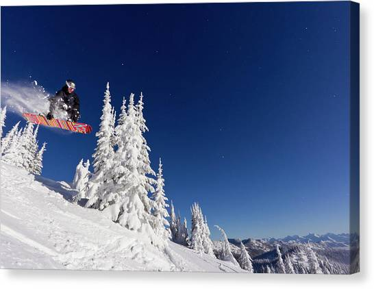 Snowboarding Canvas Print - Snowboarding Action At Whitefish by Chuck Haney