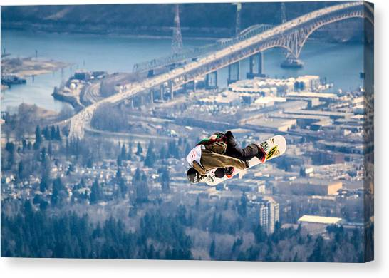 Snowboarding Canvas Print - Snowboarding Over The City by Alexis Birkill