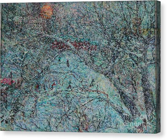 Snowfall In Moscow's Lublino Park Canvas Print