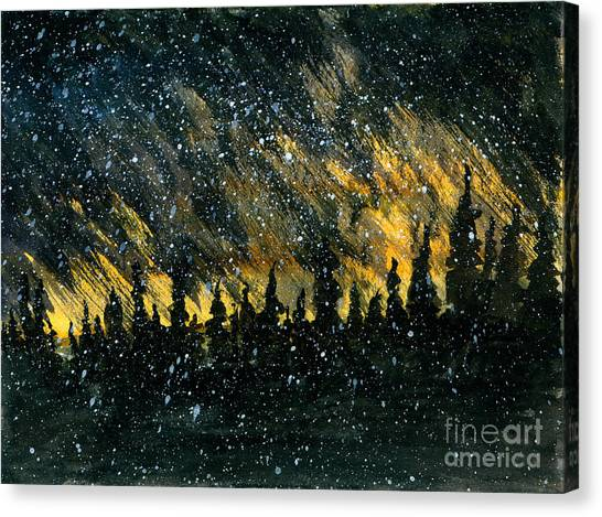 Snowfall On The Forest Canvas Print by R Kyllo