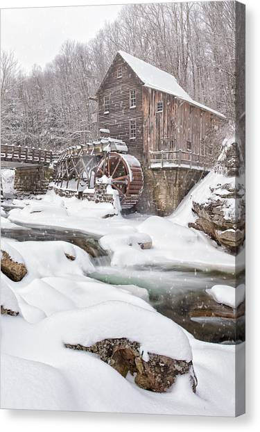 Grist Canvas Print - Snowglade Creek Grist Mill by Emmanuel Panagiotakis