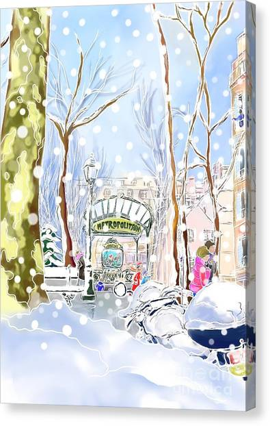 Snowing In Montmartre Canvas Print