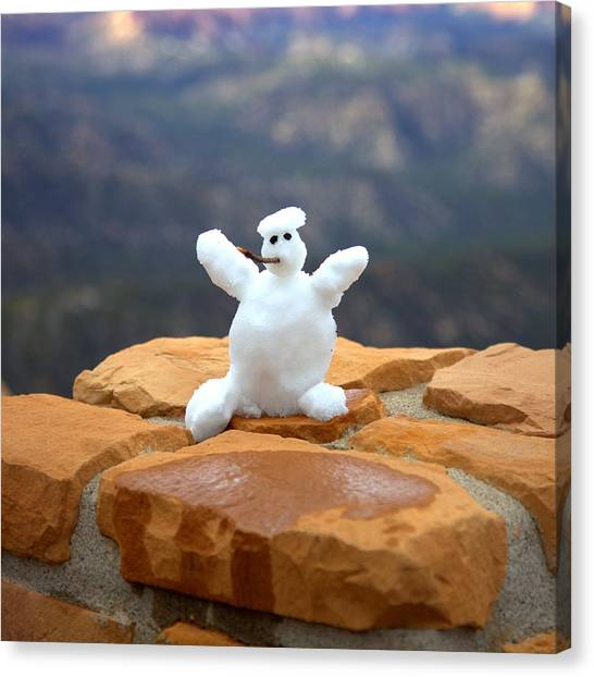 Snowman At Bryce - Square Canvas Print