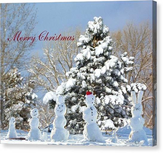 Snowman Family Greeting Card Canvas Print