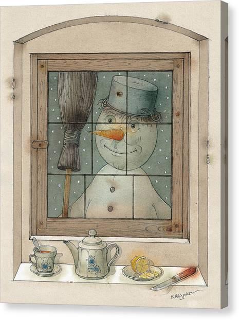 Snowman Canvas Print by Kestutis Kasparavicius