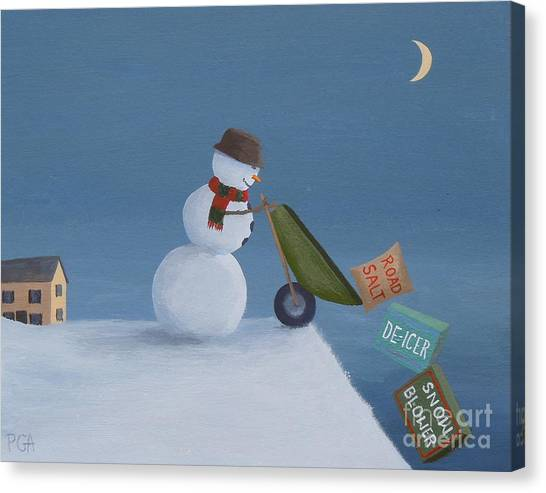 Snowman Survival Strategies Canvas Print