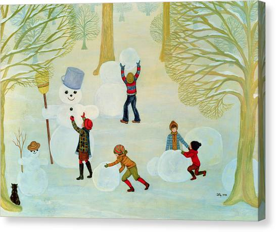 Snowball Canvas Print - Snowmen by Ditz