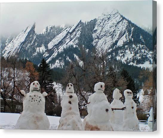 Flatiron Snowmen. Canvas Print