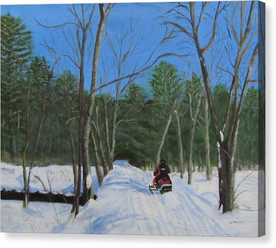 Snowmobile On Trail Canvas Print