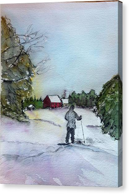 Snowshoeing In Northern Maine Canvas Print by Peggy Bosse