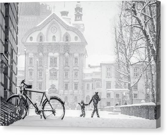 Ljubljana Canvas Print - Snowstorm  In Ljubljana by Photography By Daniel Frauchiger, Switzerland
