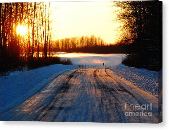 Snowy Anchorage Sunset Canvas Print