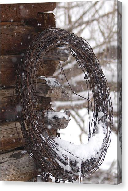 Snowy Barbed Wire Canvas Print