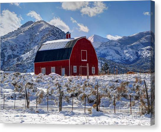 Snowy Barn In The Mountains - Utah Canvas Print
